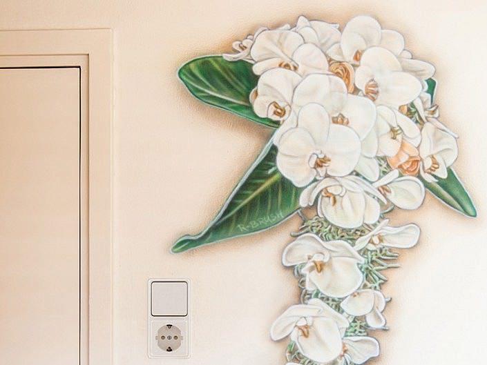 Bruidsboeket muurschildering