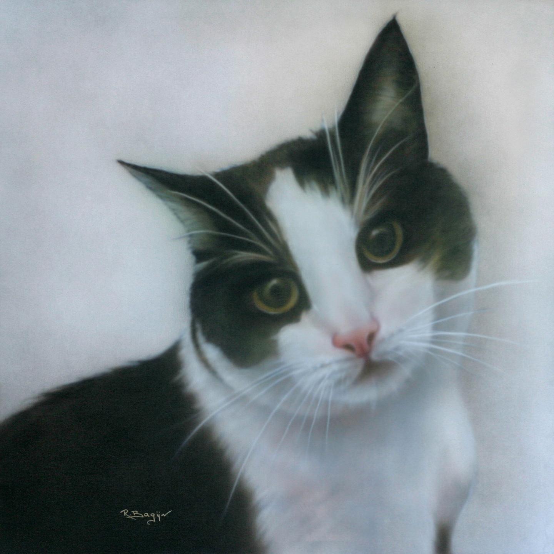 Kat poes airbrush schilderij canvas van huisdier