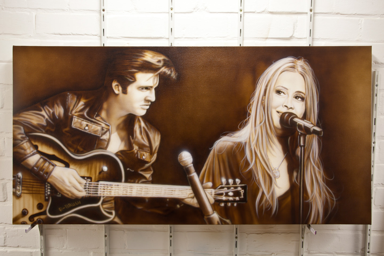 Anouk en Elvis Presley sepia airbrush schilderij op canvas doek