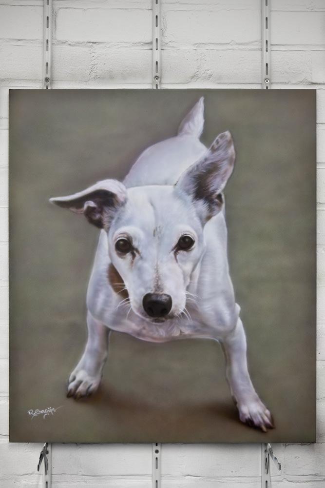Airbrush schilderij hondje op paneel met rustige achtergrond