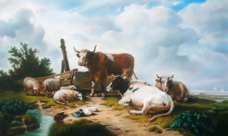 Landschap schilderij De RustPauze met koeien en schapen