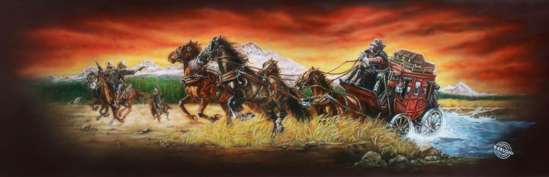 Westernstar Trailer met postkoets, paarden en cowboys schildering