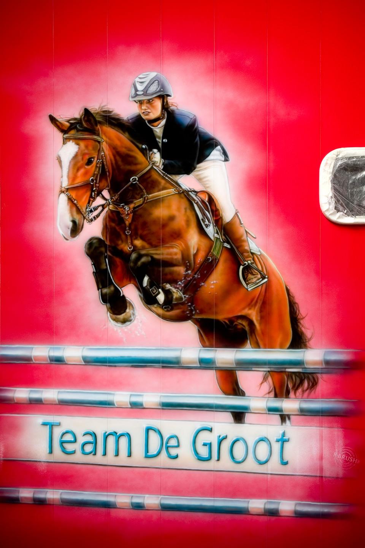 Paarden Trailer airbrush schildering