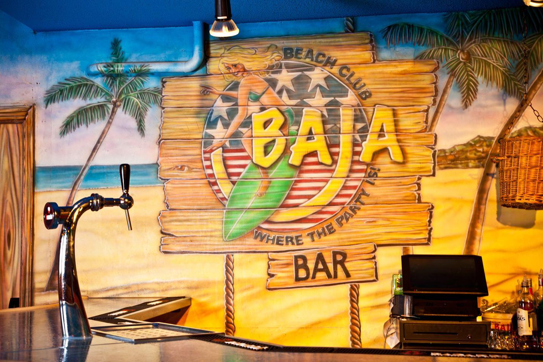 Muurschilderingen bar logo BAJA beachclub Rotterdam