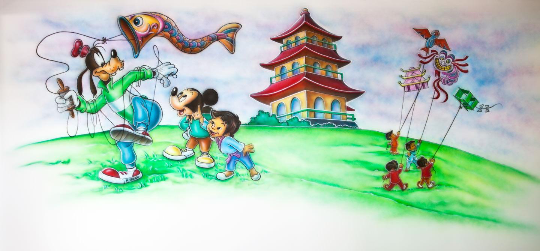 Muurschildering kinderhoek van Japans Restaurant