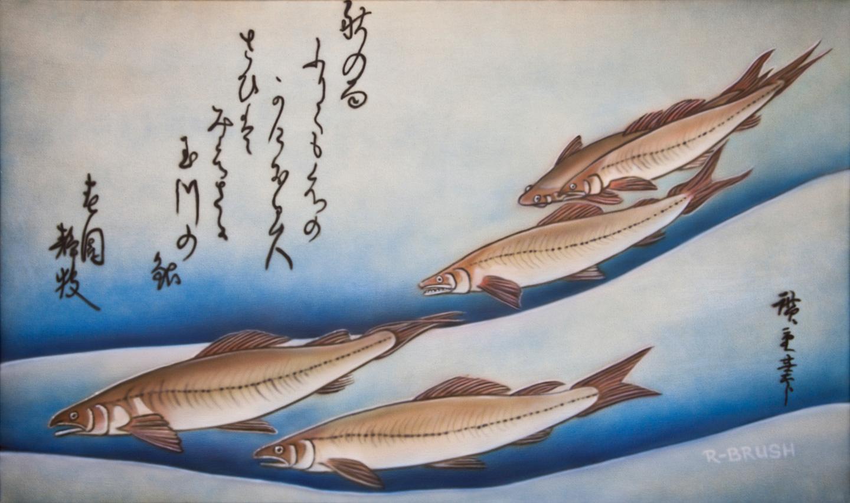Japanse prent schilderij met vissen op canvas