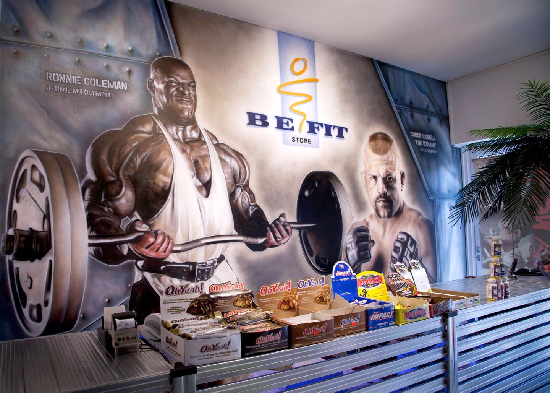 Muurschildering bij BeFit store Venlo