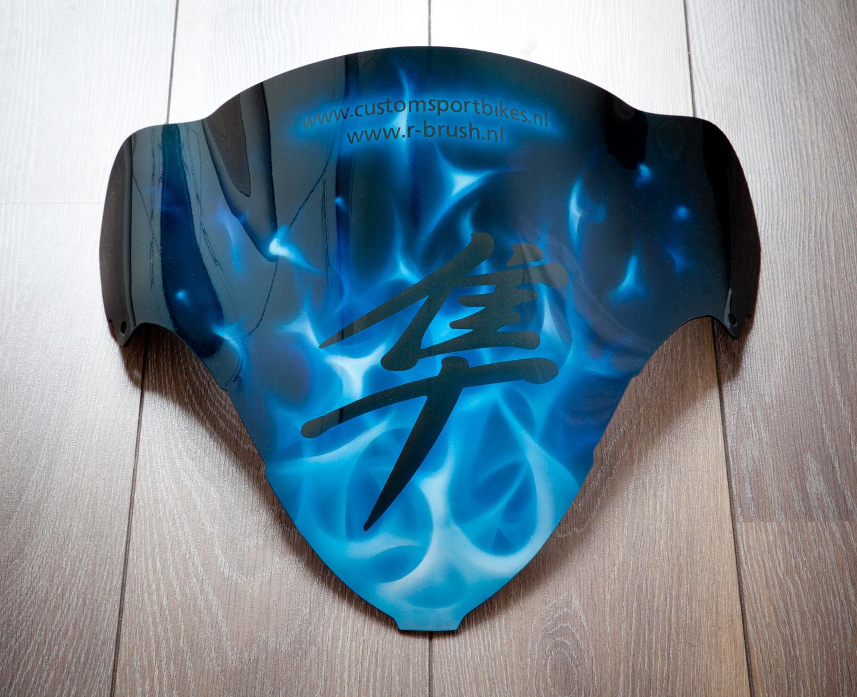 Hayabusa Kuipruitje met truefire airbrush schildering