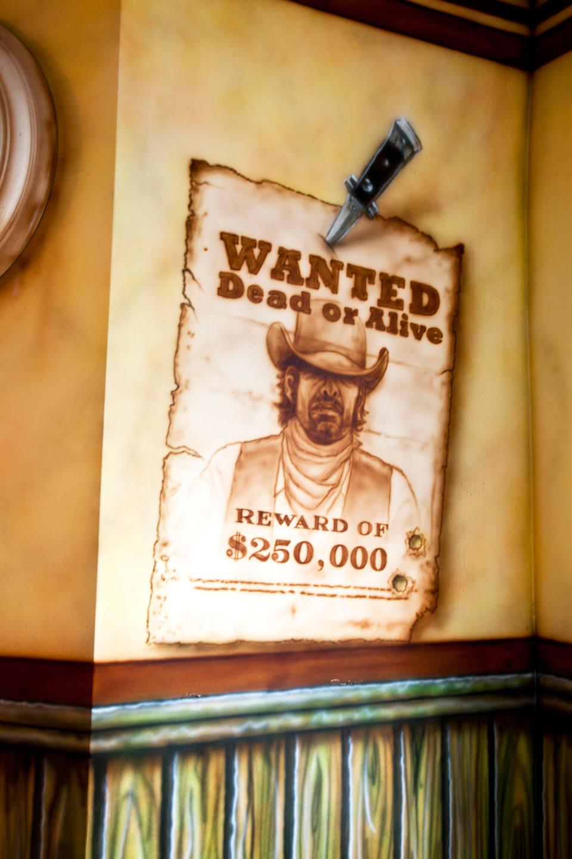 Western saloon wanted muurschildering