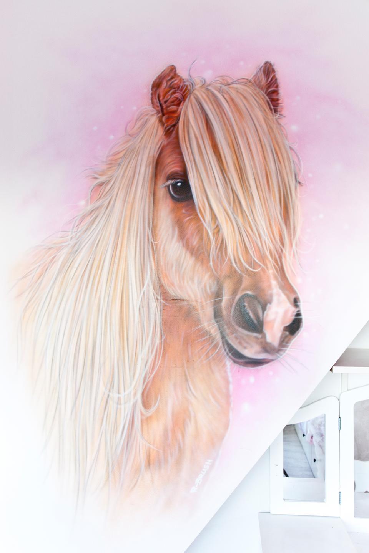 Airbrush muurschildering van paard / pony in meisjeskamer