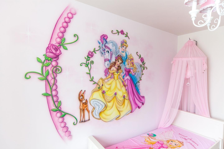 Muurschildering Disney prinsessen meisjeskamer