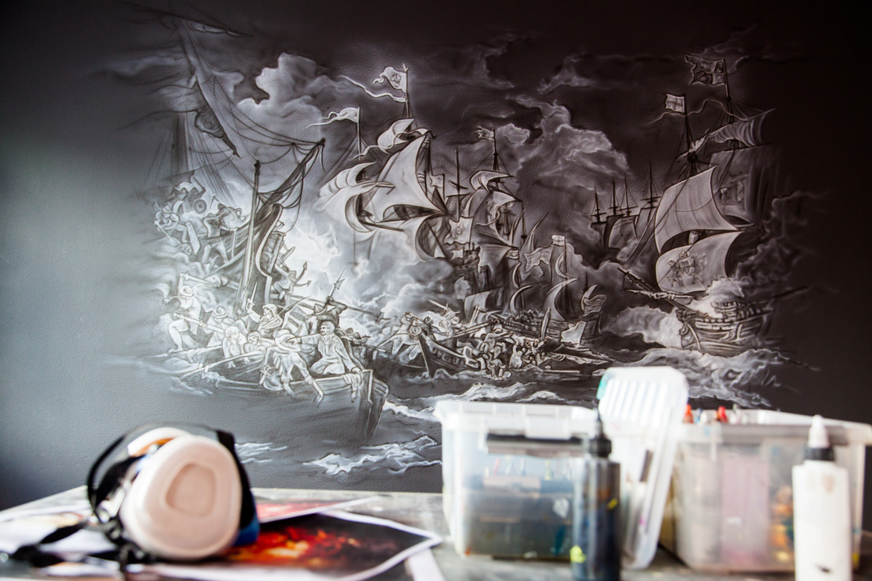 Muurschildering Spaanse Armada in kantoor Enigma Nederland Spijkenisse