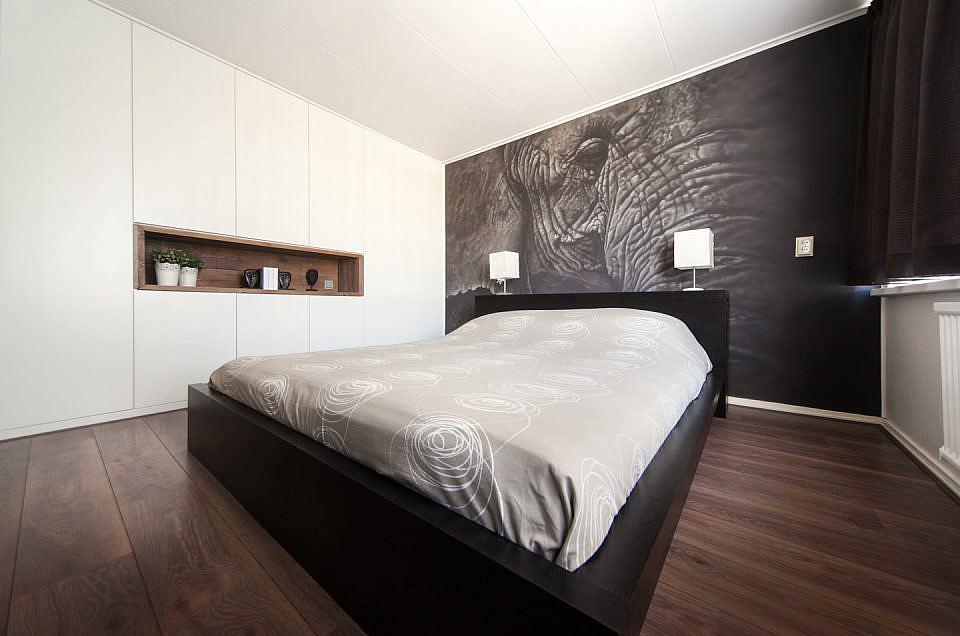 Exclusieve muurschildering van olifant in slaapkamer
