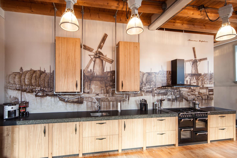 muurschildering middenkous delfshaven in keuken loft