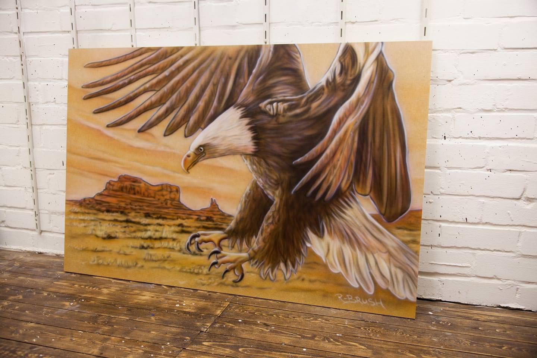 Eagle Monument Valley schilderij op mdf 80x122 cm