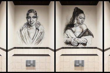 Muurschilderingen Josephine Baker bij Brasserie Josephine Bergschenhoek