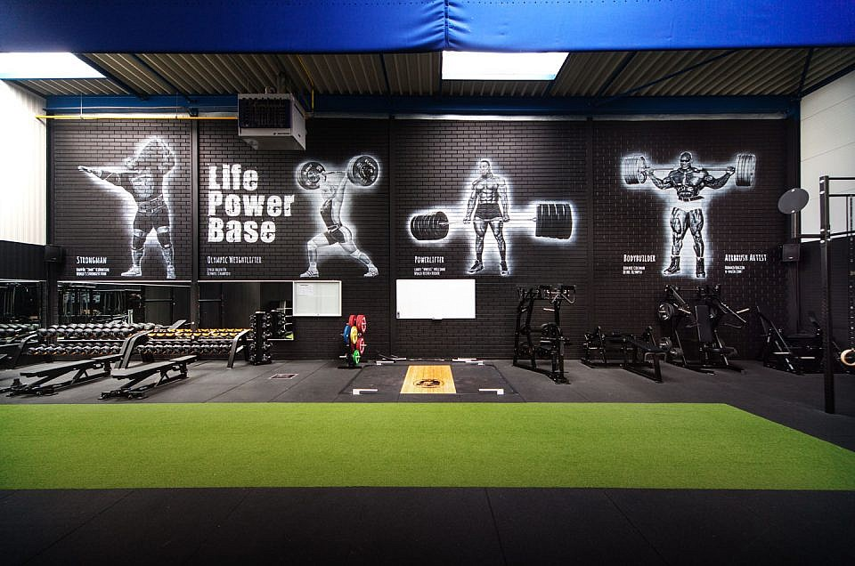 Bodybuilder, Powerlifter, Olympic Weightlifter, Strongman. Krachtsporters muurschildering Fitness