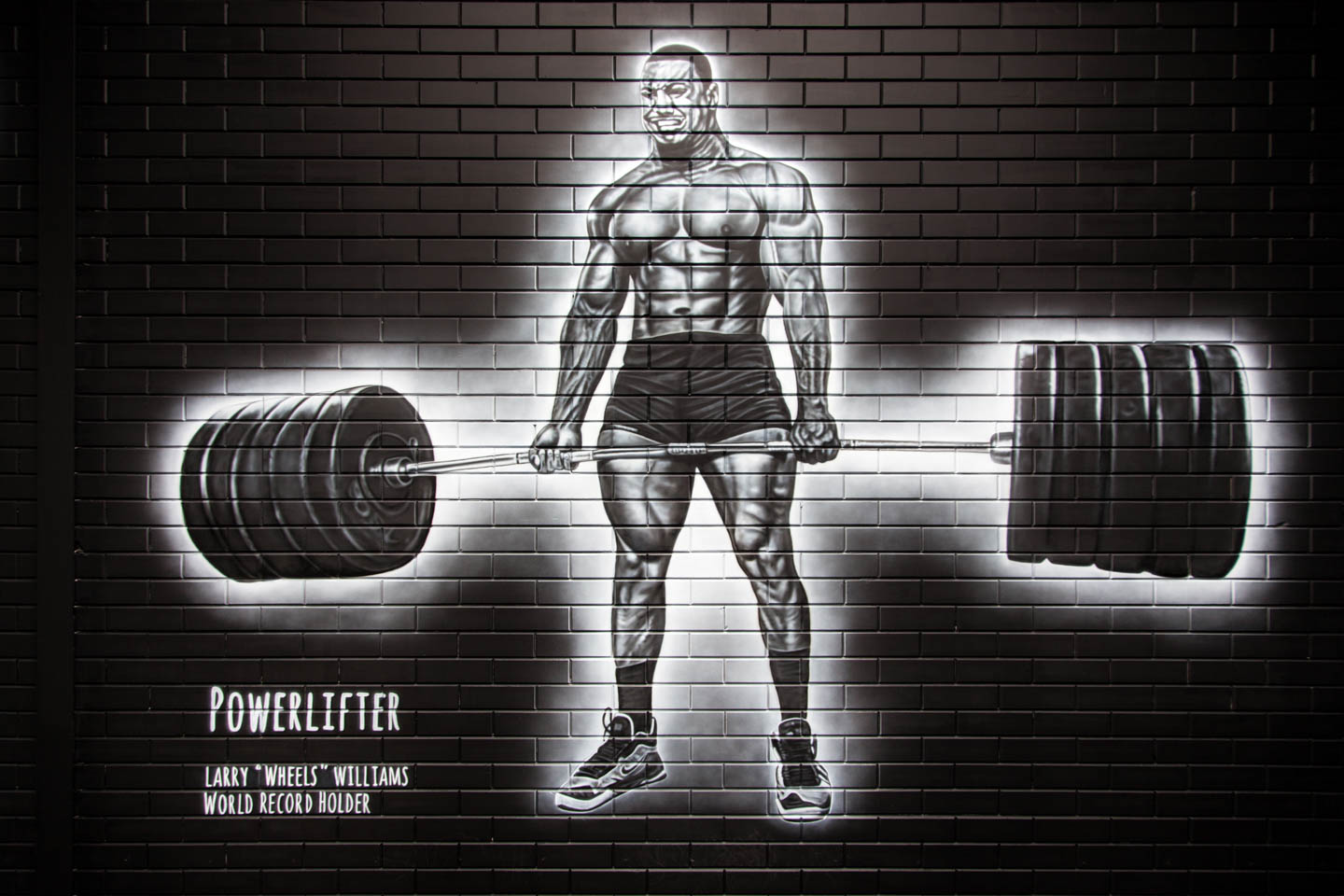 Powerlifter Larry Wheels Williams. Krachtsporters muurschildering Life Power Base