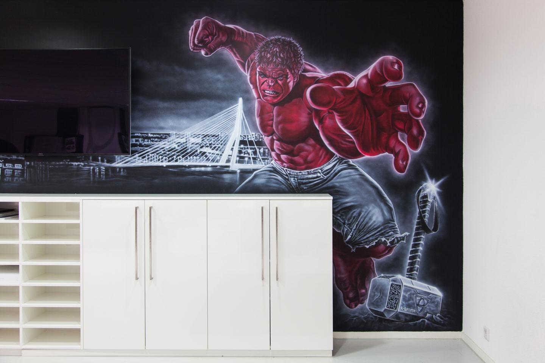 Marvel superhelden muurschildering Rotterdam. Met Ironman en de Hulk.